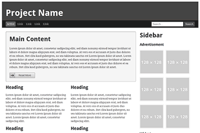 a responsive layout with a flexible content column some nested grid elements and a fixed width sidebar view example